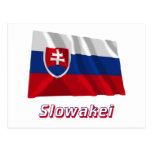 Slowakei Fliegende Flagge mit Namen Postcard