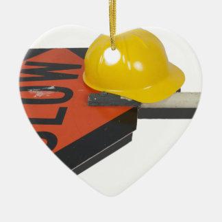 SlowSignPoleConstructionHat051913.png Ceramic Ornament