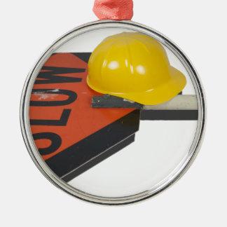 SlowSignPoleConstructionHat051913.png Metal Ornament