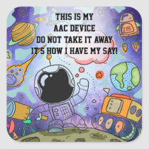 SLP AAC Aids - ALERT Stickers for Devices - Space
