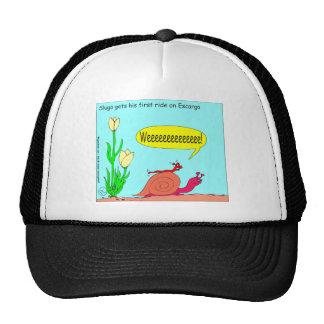 Slug Ride on Snail Cartoon Trucker Hat
