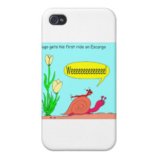Slug Ride on Snail Cartoon iPhone 4 Case