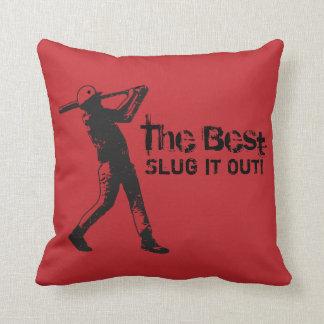 Slugger Baseball Player Black Grunge Throw Pillows