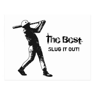 Slugger Baseball Player Black Grunge Postcard