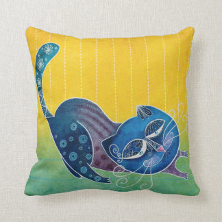 Sluggish cat throw pillow