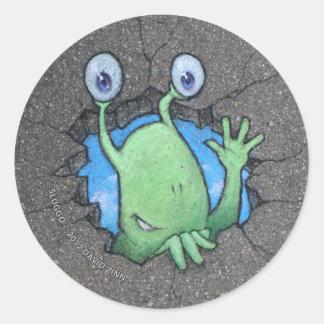 Sluggo breaks through round stickers