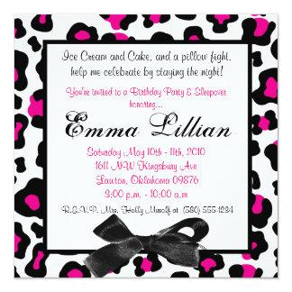 Slumber Party birthday invite fun cute girl pink