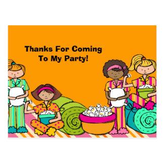 Slumber Party Birthday Thank You Postcard