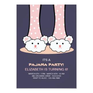 Slumber Party Bunny Slippers Invitation