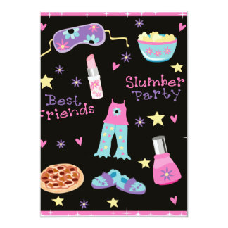 Slumber Party for Girls 5x7 Paper Invitation Card