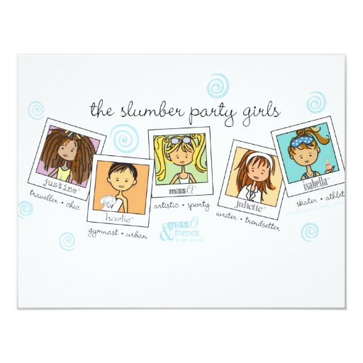 slumber party girls 4.25x5.5 paper invitation card