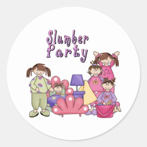 SLUMBER PARTY GIRLS CLASSIC ROUND STICKER