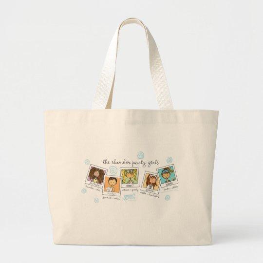 slumber party girls large tote bag