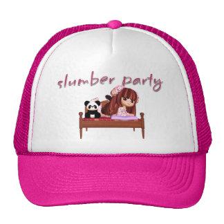 slumber party hat, with cute little girl & panda trucker hat