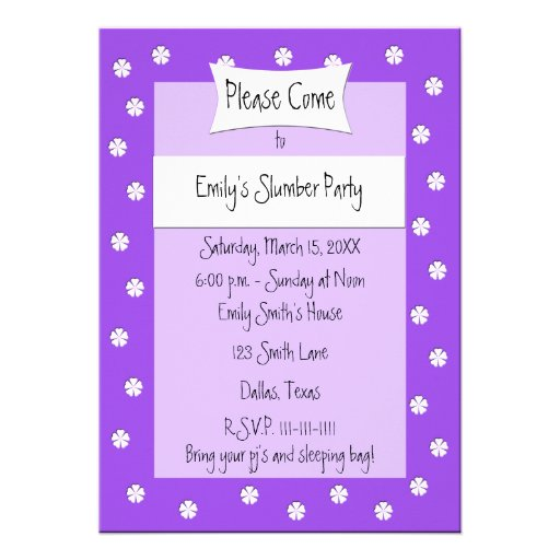 Slumber Party Invitation -- Cute Purple Bed