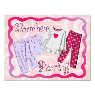 Slumber Party Invitation, Pink and Purple PJ's Card