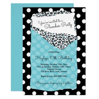 Slumber Party Invitation, Sleeping Bag, Blue Card