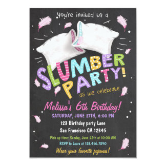 Slumber Party Pajamas Sleepover Invitation