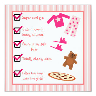 Slumber Party Pajamas Slippers Checklist Card