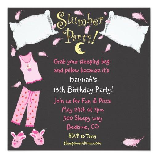 Slumber Party Pillow Fight Birthday Invitation