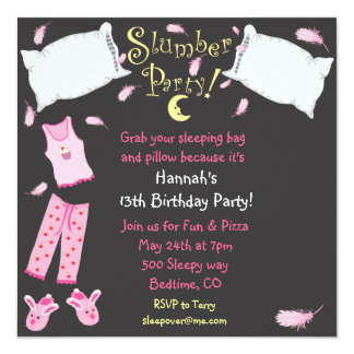 "Slumber Party Pillow Fight Birthday Invitation 5.25"" Square Invitation Card"