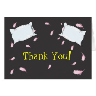 Slumber Party Pillow Fight Birthday Thank You Note Greeting Card