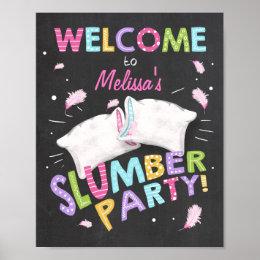 Slumber Party Welcome Sign Pajamas Sleepover girl