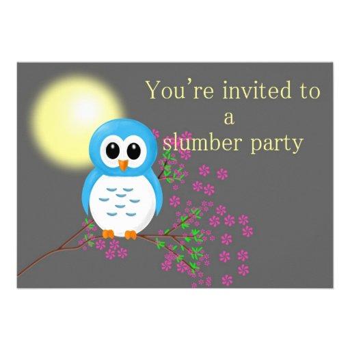 Slumber Party with Night Owl Custom Invitations