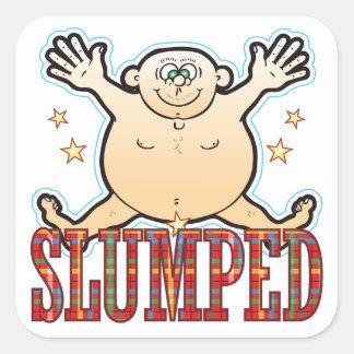Slumped Fat Man Square Sticker