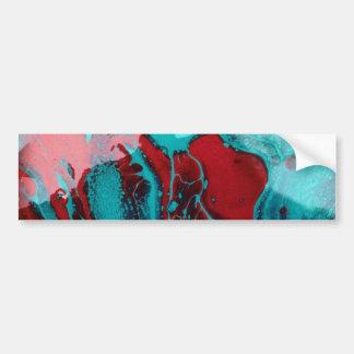 slurry or slag of blue and red art glass bumper sticker