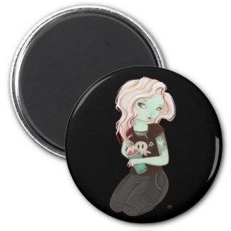 Slushieee - Zombie Goth girl magnet Fridge Magnets