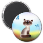 Sly Cat & Butterflies 2 Inch Round Magnet