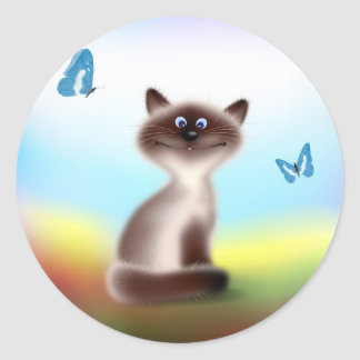 Sly Cat & Butterflies Classic Round Sticker