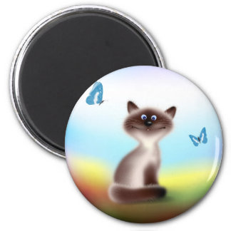 Sly Cat & Butterflies Magnets
