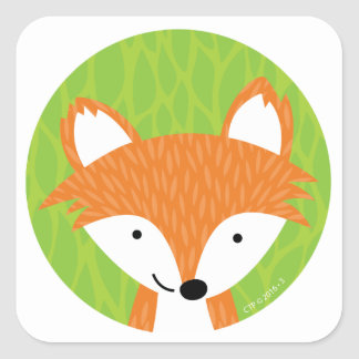 Sly Little Fox- Woodland Friends Square Sticker