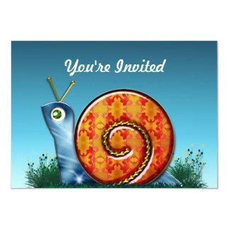 "Sly Snail in Garden Grass 5"" X 7"" Invitation Card"