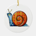 Sly Snail Double-Sided Ceramic Round Christmas Ornament