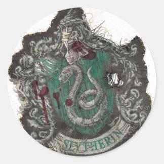 Slytherin Crest - Destroyed Classic Round Sticker