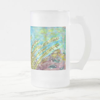 SM237 Frosted Glass Mug/ Fine Art Painting Frosted Glass Beer Mug