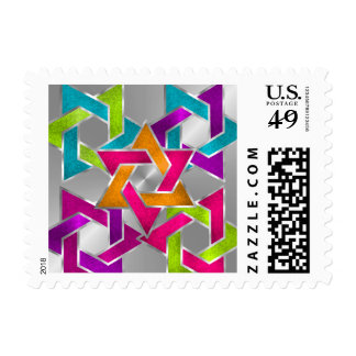 Sm Bat Mitzvah Multicolored Star of David Silver Postage Stamp