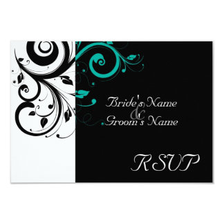 Sm Black +White Aqua Swirl Wedding Matching RSVP Card