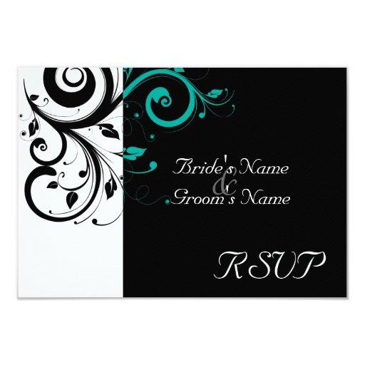 Sm Black +White Aqua Swirl Wedding Matching RSVP Card
