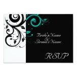 Sm Black +White Aqua Swirl Wedding Matching RSVP Announcement
