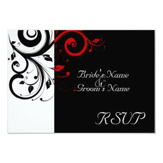 Sm Black +White Red Swirl Wedding Matching RSVP 3.5x5 Paper Invitation Card