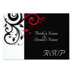 Sm Black +White Red Swirl Wedding Matching RSVP Card