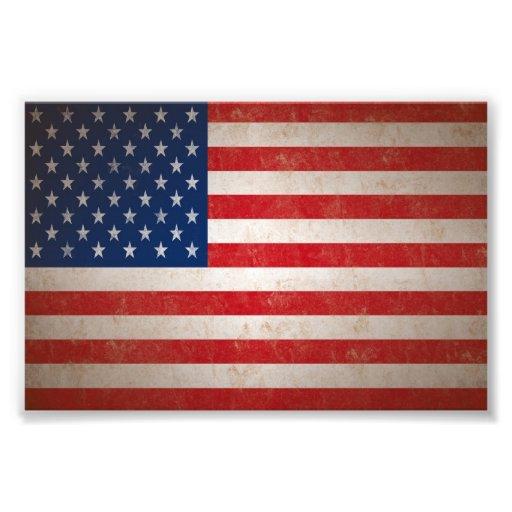 SM. Impresión de la foto de la bandera americana d