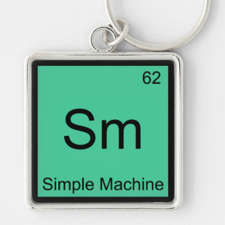 Sm - Simple Machine Chemistry Element Symbol Tee Silver-Colored Square Keychain