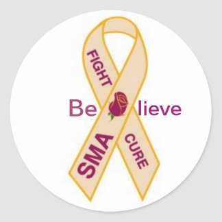 SMA AWARENESS RIBBON CLASSIC ROUND STICKER