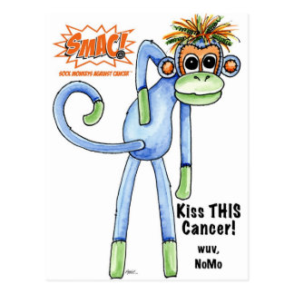 SMAC! Sock Monkeys Against Cancer Illustration Postcard
