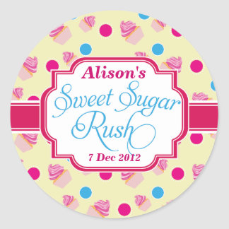 Smal yellow Sweet Sugar Rush Cute Cupcake Stickers